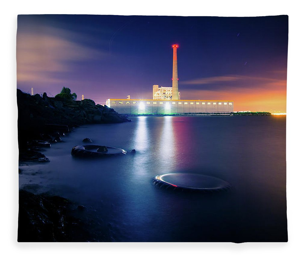 Industrial District Fleece Blanket featuring the photograph Toxic Beach With Power Plant by Hal Bergman