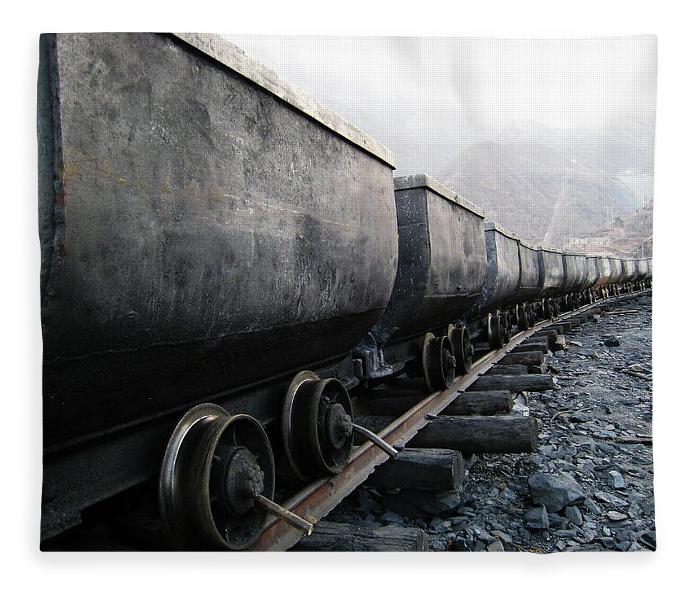 Beijing Municipality Fleece Blanket featuring the photograph Train In Coal Mine by Photography By Baoshabaotian