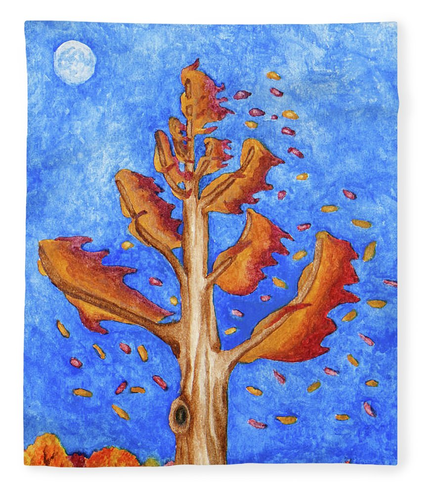 Nature Fleece Blanket featuring the painting Tree in Autumn Wind I by Robert Morin