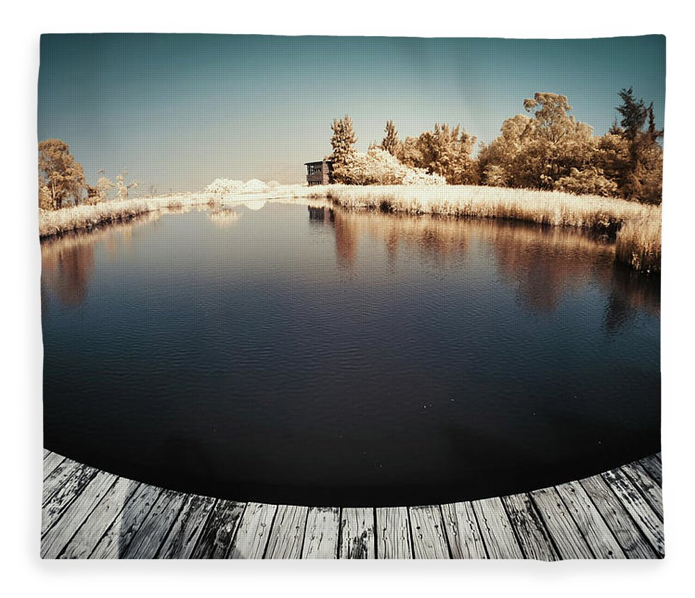 Tranquility Fleece Blanket featuring the photograph Trees And Plants In A Pond by D3sign