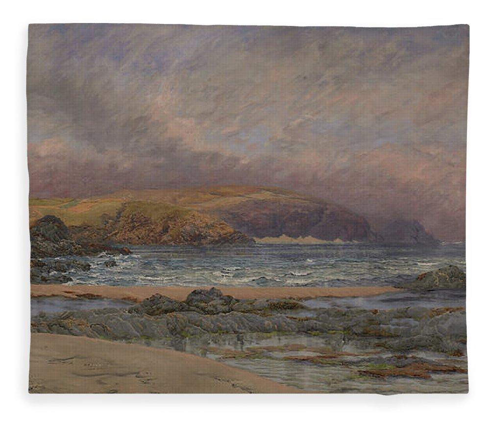 Seascape Fleece Blanket featuring the painting Trevose Head by John Brett