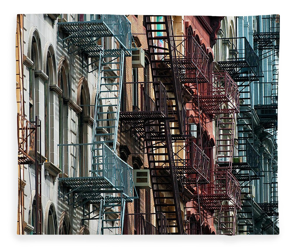 Downtown District Fleece Blanket featuring the photograph Tribeca Fire Escapes by Joseph O. Holmes / Portfolio.streetnine.com