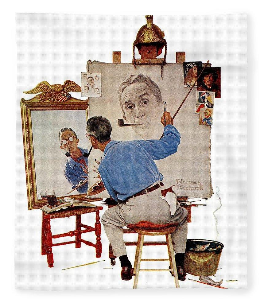 Artists Fleece Blanket featuring the drawing Triple Self-portrait by Norman Rockwell