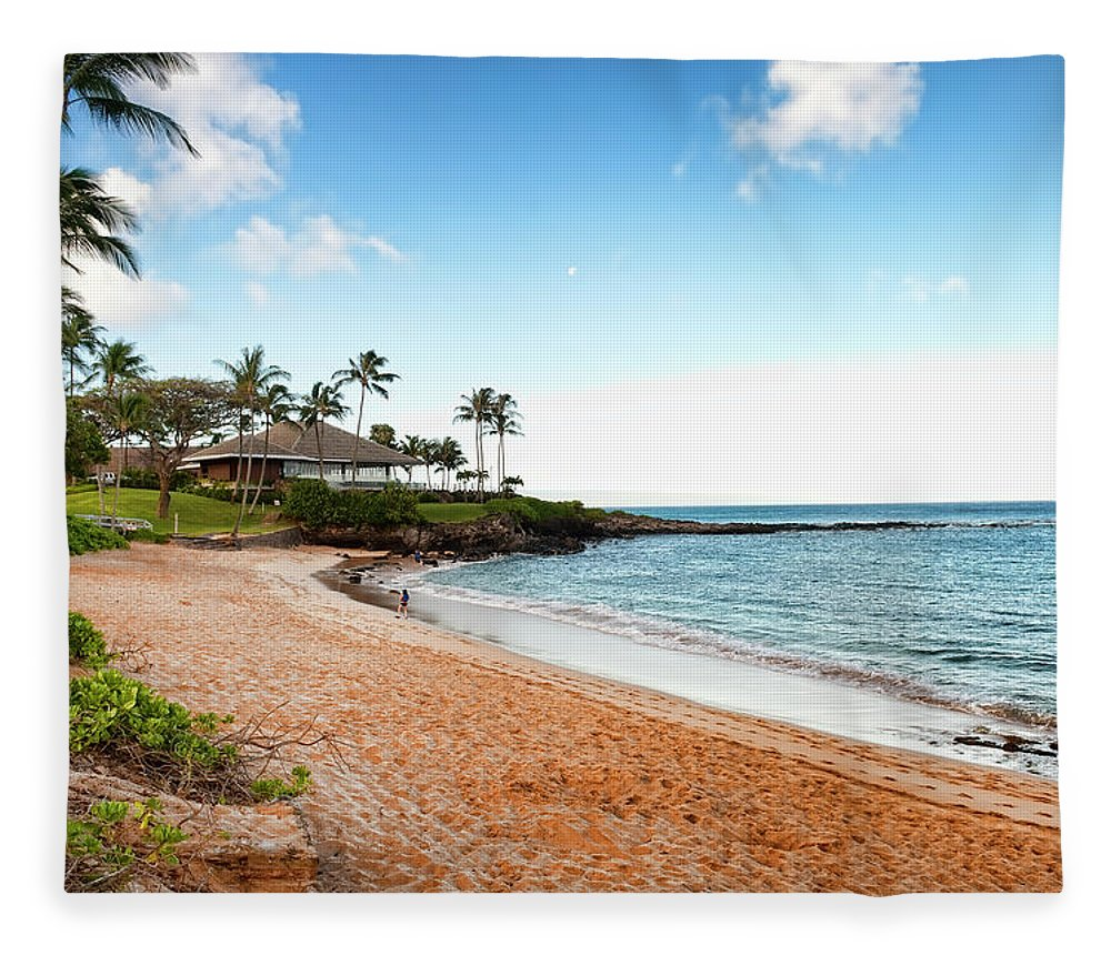 Water's Edge Fleece Blanket featuring the photograph Tropical Beach Paradise by Rontech2000
