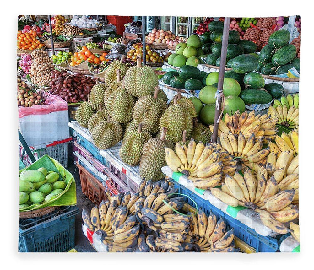 Mango Fruit Fleece Blanket featuring the photograph Tropical Fruit At A Street Market In by Tbradford