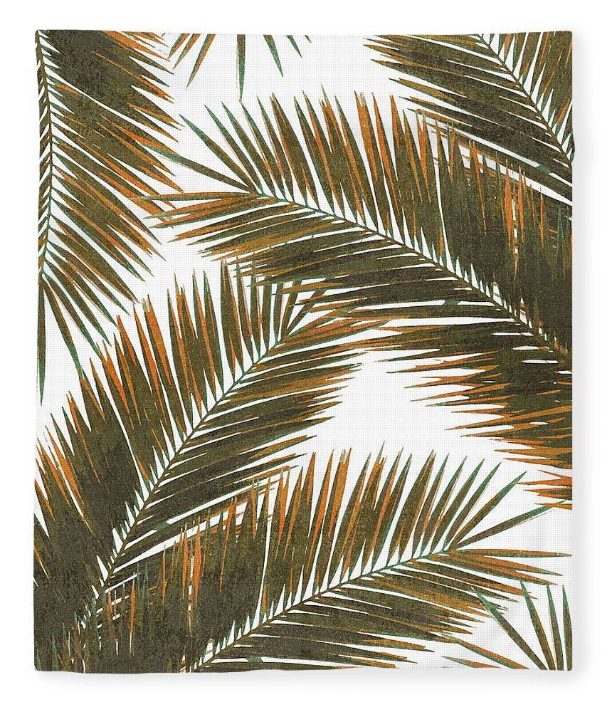 Tropical Palm Leaf Fleece Blanket featuring the mixed media Tropical Palm Leaf Pattern 6 - Tropical Wall Art - Summer Vibes - Modern, Minimal - Brown, Copper by Studio Grafiikka