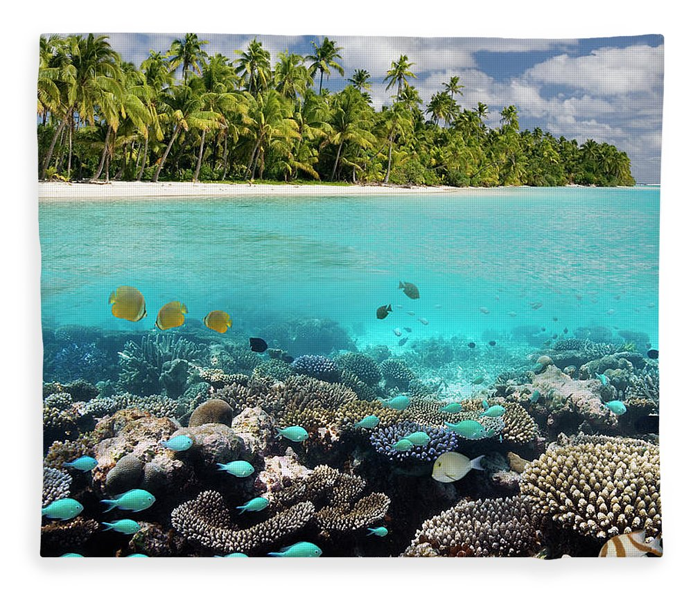 Underwater Fleece Blanket featuring the photograph Tropical Paradise - The Maldives by Steve Allen