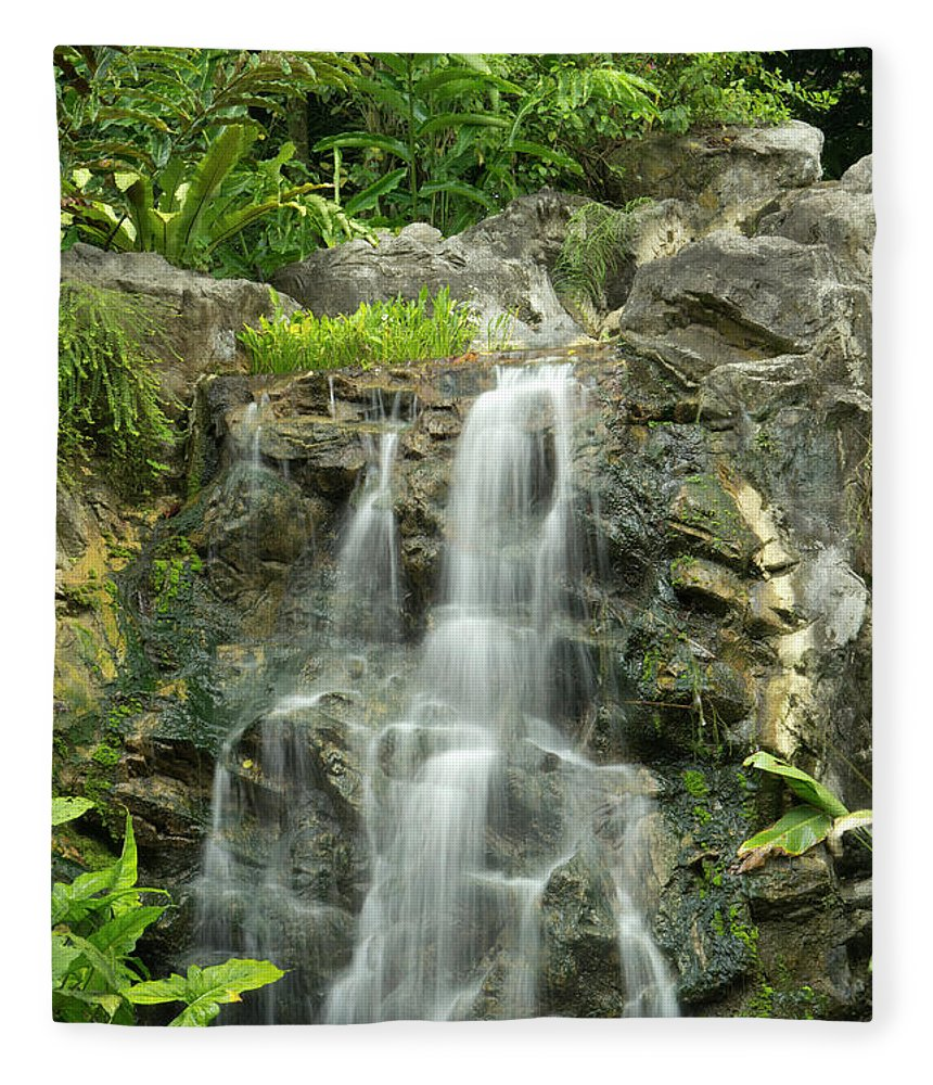 Tropical Rainforest Fleece Blanket featuring the photograph Tropical Rainforest And Waterfall by Travelpix Ltd