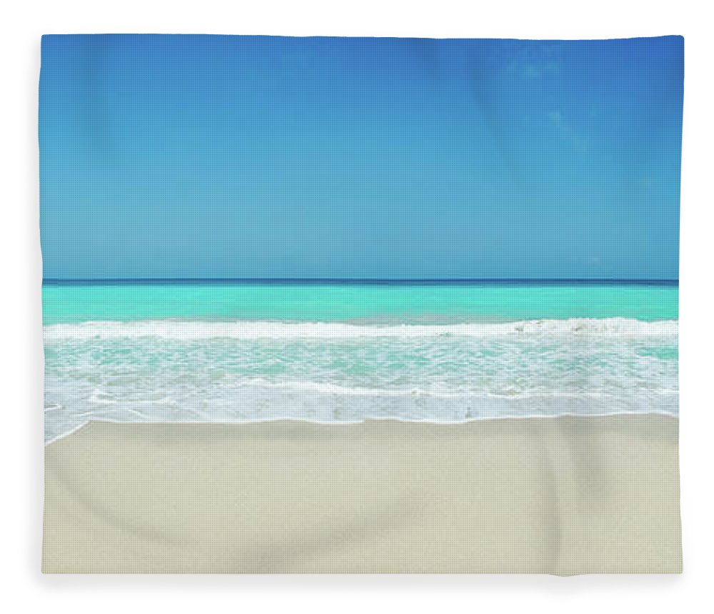 Water's Edge Fleece Blanket featuring the photograph Tropical White Sand Beach by Apomares