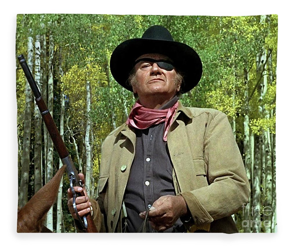 True Grit, Rooster Cogburn, jumping 4 rails, John Wayne, Well, come see a fat old man some time Fleece Blanket for Sale by Thomas Pollart
