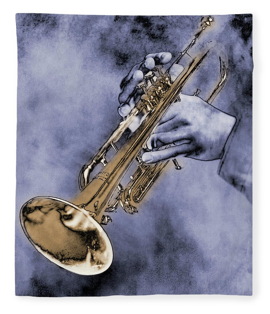 One Man Only Fleece Blanket featuring the digital art Trumpet Player by Nick White
