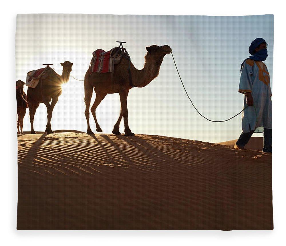 People Fleece Blanket featuring the photograph Tuareg Man & Camels, Erg Chebbi, Sahara by Peter Adams