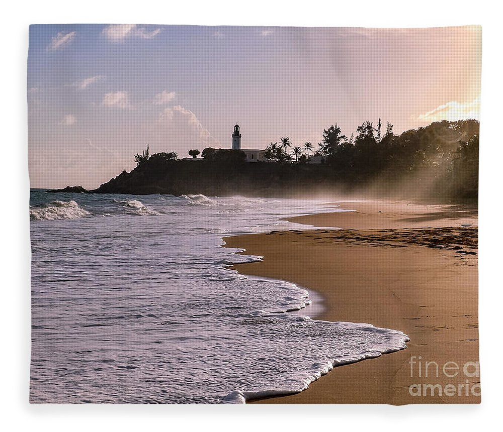 Ocean Fleece Blanket featuring the photograph Tuna Punta Lighthouse And Beach In Puerto Rico by G Matthew Laughton