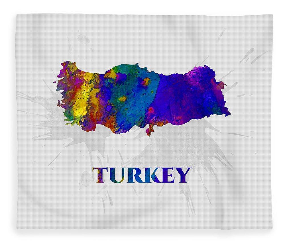 Turkey Fleece Blanket featuring the mixed media Turkey, Map, Artist Singh by Artist Singh MAPS