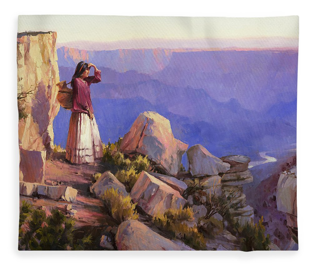 Grand Canyon Fleece Blanket featuring the painting Turning Point by Steve Henderson