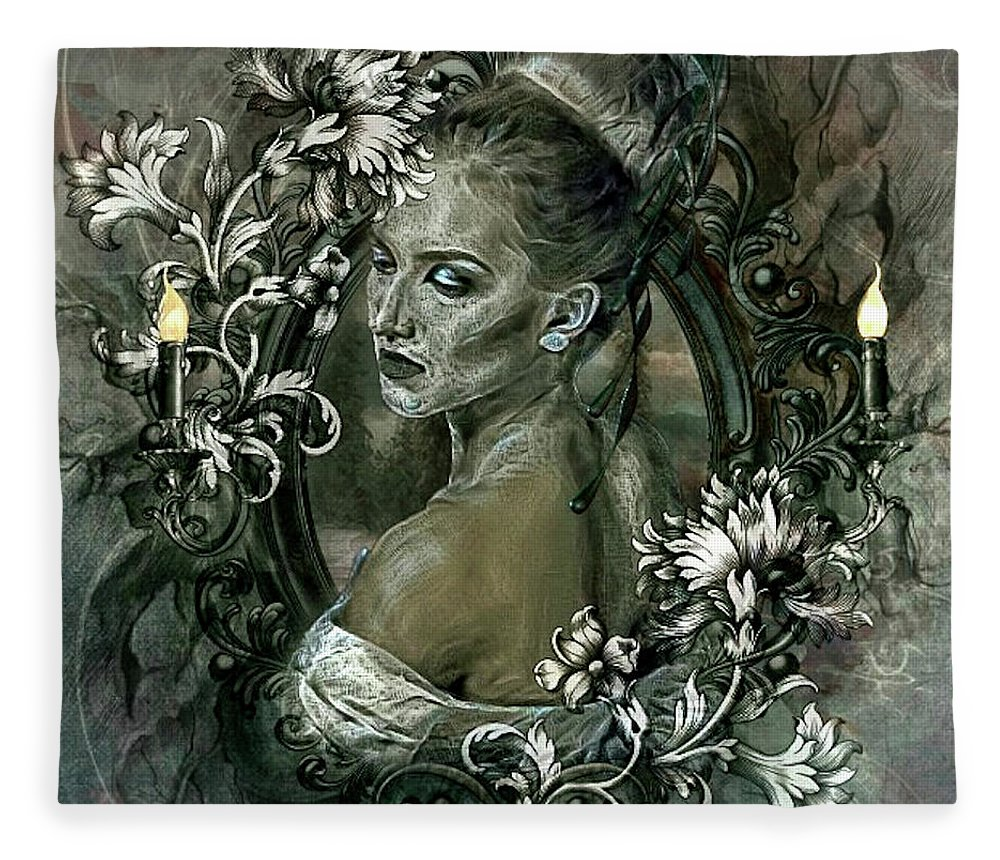 Flora Fleece Blanket featuring the mixed media Two Flames In Dreams Of Love 002 by G Berry