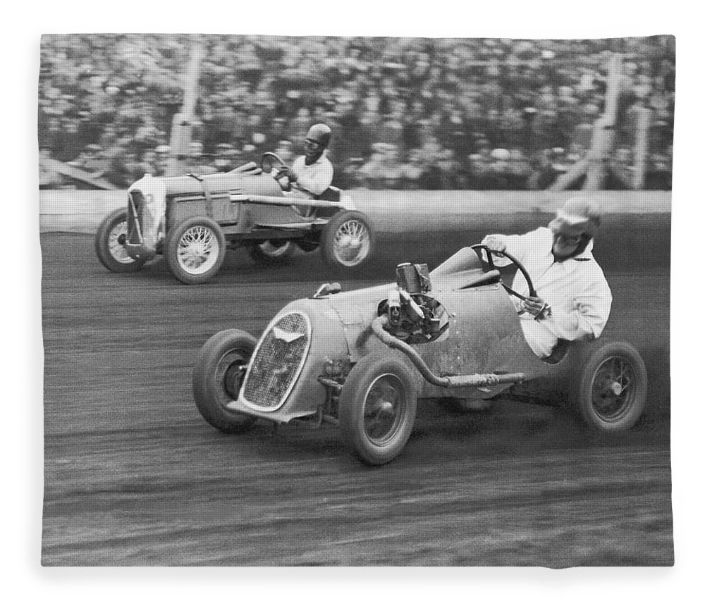 People Fleece Blanket featuring the photograph Two Men Racing Midget Cars B&w by Fpg