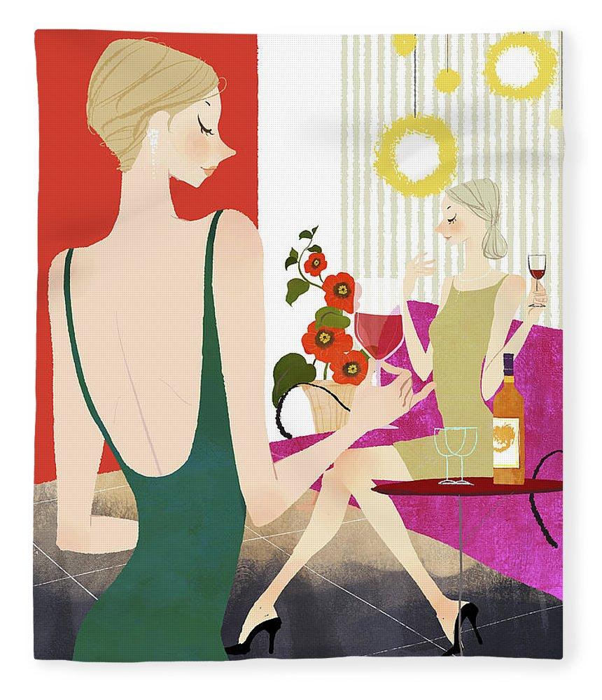 People Fleece Blanket featuring the digital art Two Woman Drinking Wine by Eastnine Inc.