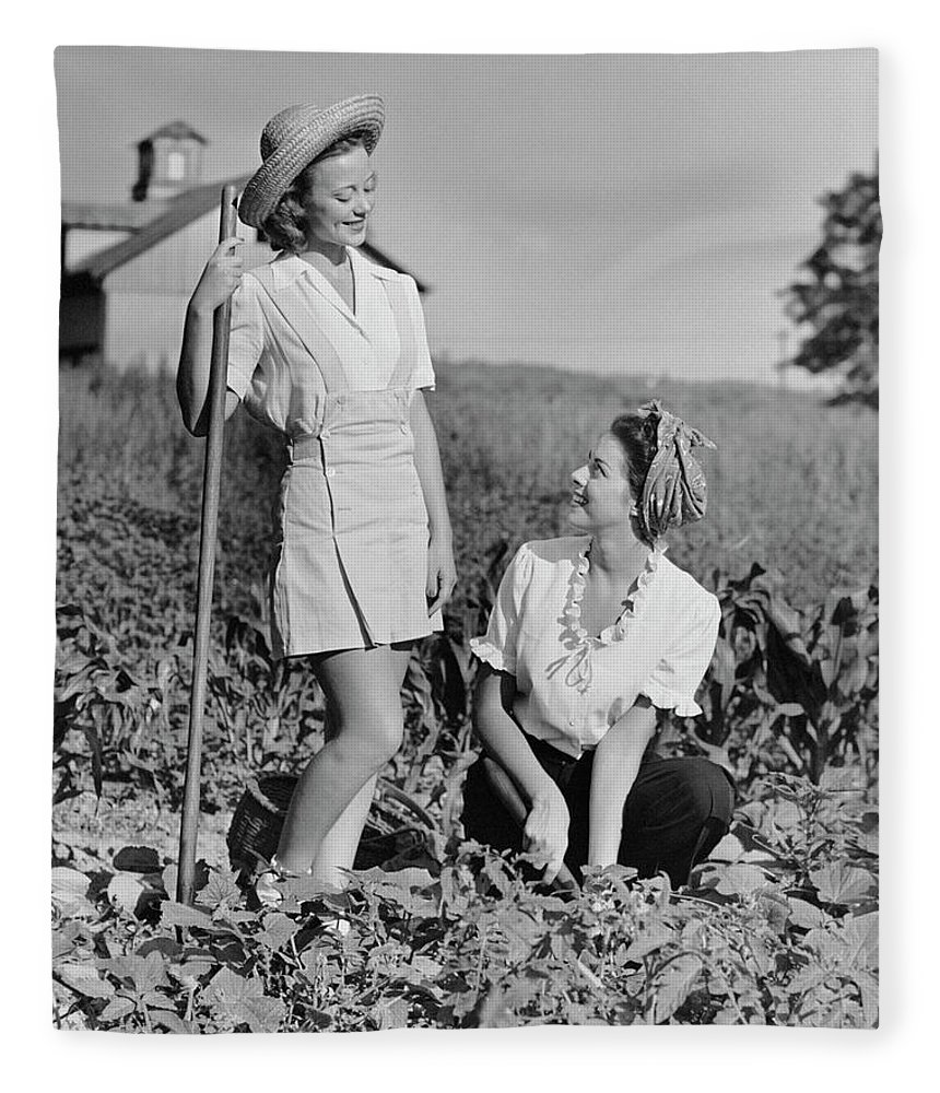 People Fleece Blanket featuring the photograph Two Women Gardening In Field by George Marks