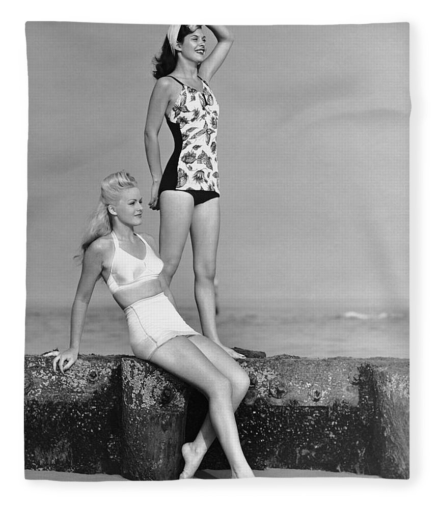 People Fleece Blanket featuring the photograph Two Women In Bathing Suits by George Marks