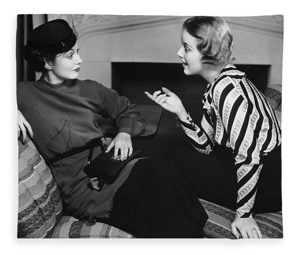Three Quarter Length Fleece Blanket featuring the photograph Two Women In Casual Conversation by George Marks