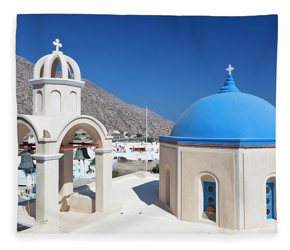 Greek Culture Fleece Blanket featuring the photograph Typical Greek Church by Michaelutech