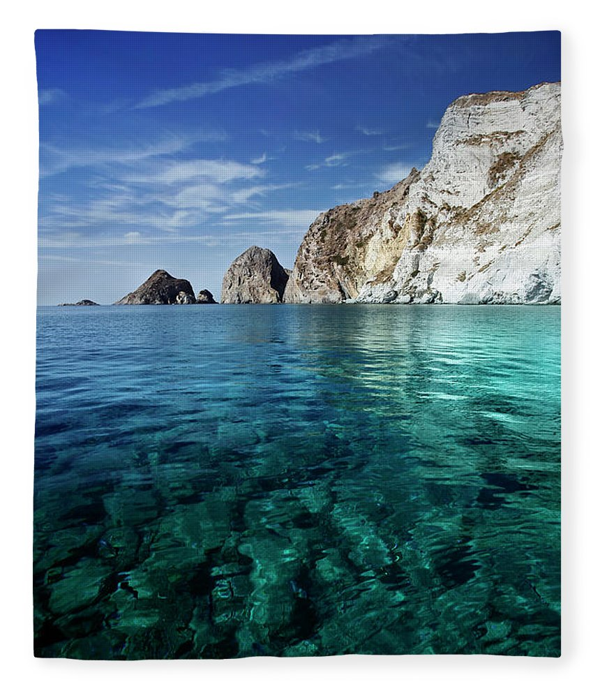 Scenics Fleece Blanket featuring the photograph Typical Mediterranean Sea In Italy by Piola666