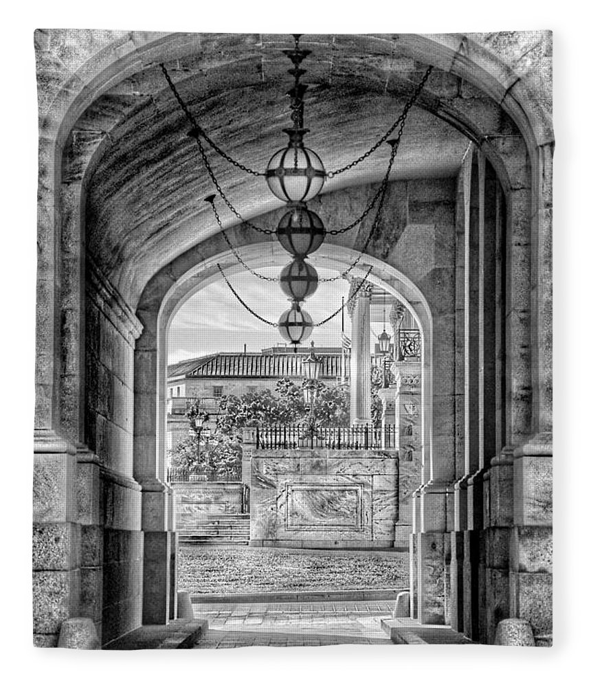 United States Capitol Fleece Blanket featuring the photograph United States Capitol - Archway Black And White by Marianna Mills