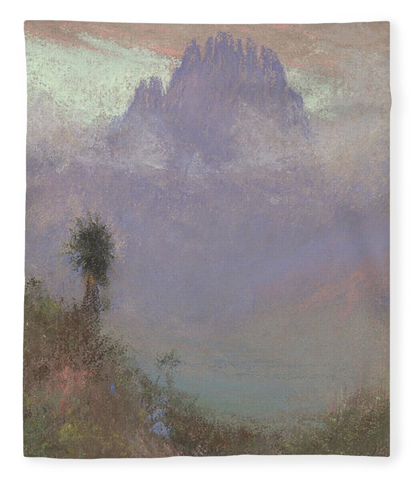Mountainous Fleece Blanket featuring the painting Untitled Mountain Landscape, 1920, Pastel by Charles Franklin Reaugh