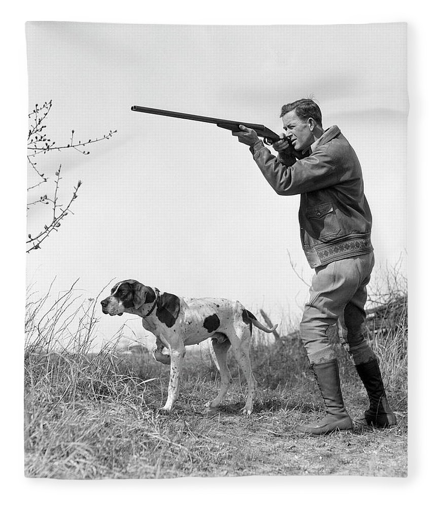 People Fleece Blanket featuring the photograph Upland Bird Hunter With Pointer Dog by H. Armstrong Roberts