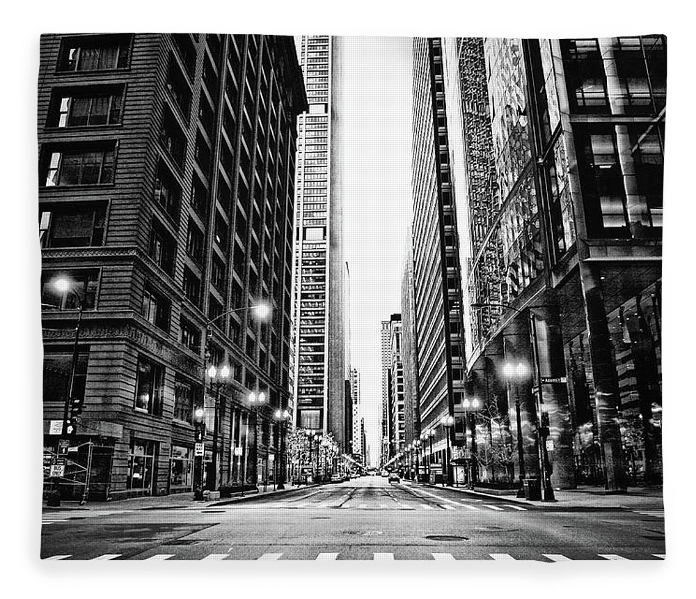 Crosswalk Fleece Blanket featuring the photograph Urban Chicago City Intersection Of by Nicole Kucera