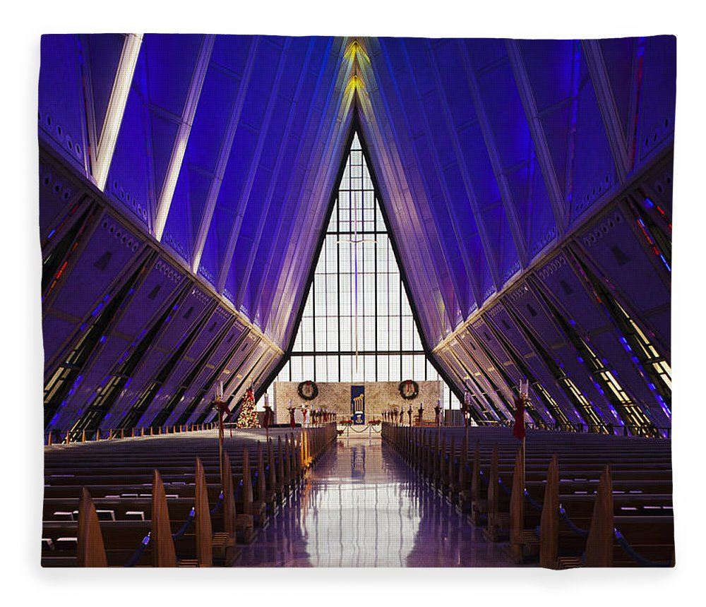 Large Group Of Objects Fleece Blanket featuring the photograph U.s. Air Force Academy, Cadets Chapel by Walter Bibikow