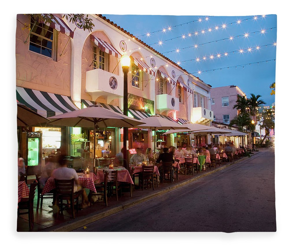 In A Row Fleece Blanket featuring the photograph Usa, Florida, Miami Beach. Restaurant by Buena Vista Images