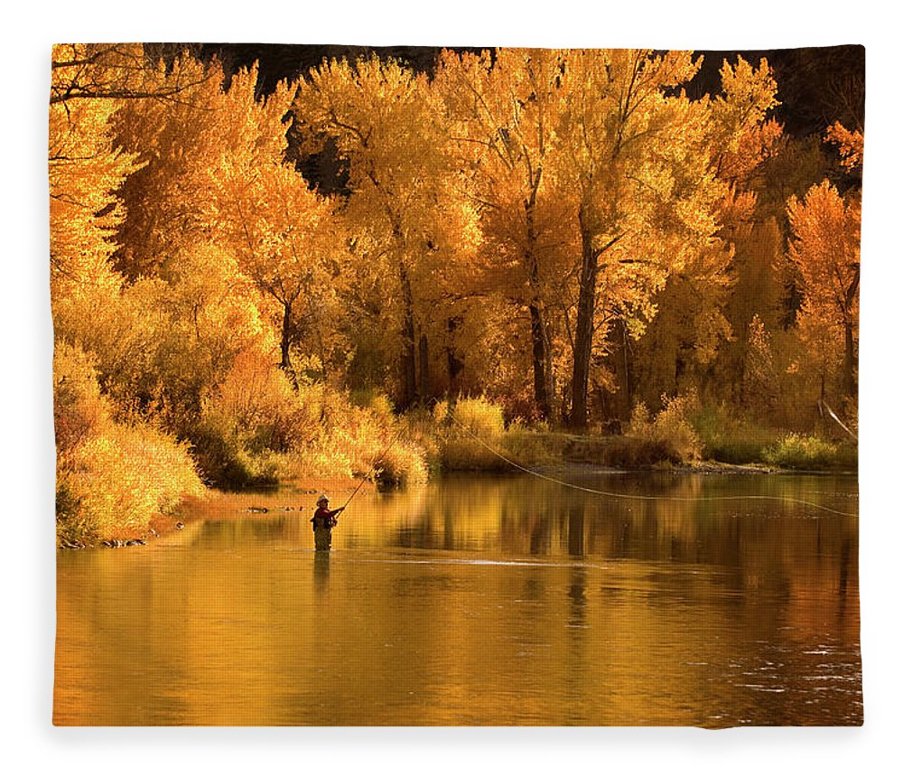 Orange Color Fleece Blanket featuring the photograph Usa, Idaho, Salmon River, Mature Man by Steve Bly