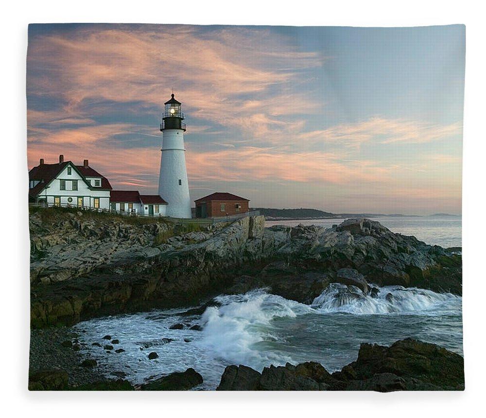 Scenics Fleece Blanket featuring the photograph Usa, Maine, Cape Elizabeth, Portland by Visionsofamerica/joe Sohm