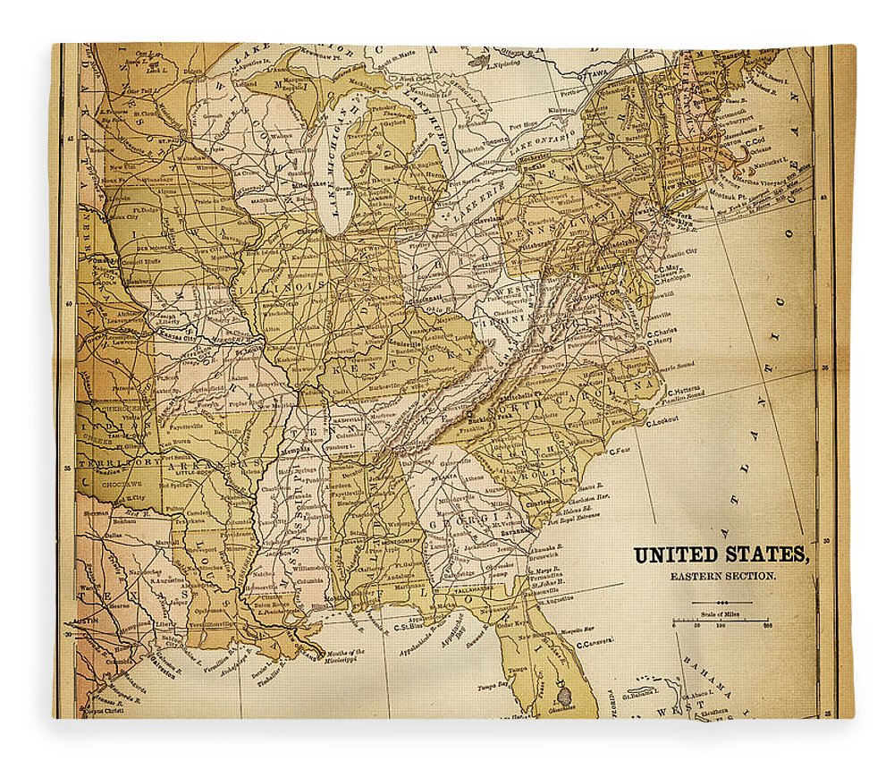 East Fleece Blanket featuring the digital art Usa Map 1884 by Thepalmer