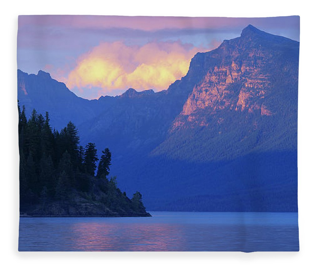 Scenics Fleece Blanket featuring the photograph Usa, Montana, Glacier Np, Mountains by Paul Souders