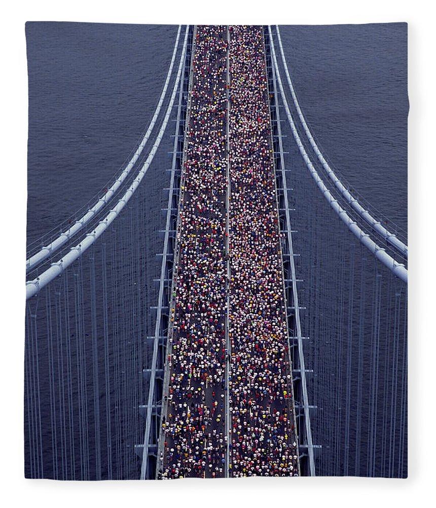 Crowd Fleece Blanket featuring the photograph Usa, New York City, Marathon Race by Joanna Mccarthy