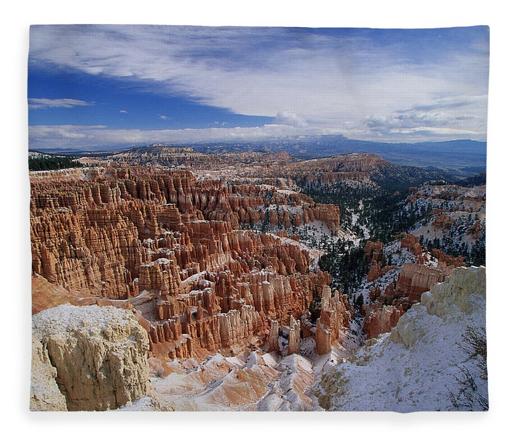 Snow Fleece Blanket featuring the photograph Usa, Utah, Winter Bryce Canyon by Stan Osolinski