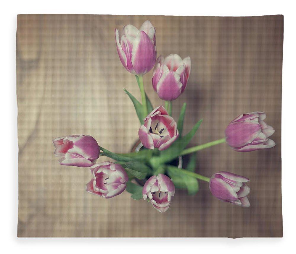 Vase Fleece Blanket featuring the photograph Vase Full Of Happiness by Paula Daniëlse