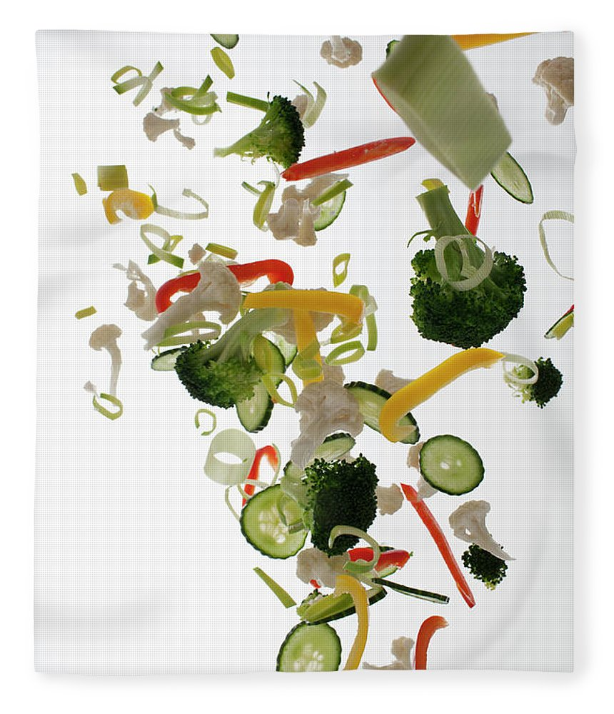 Broccoli Fleece Blanket featuring the photograph Vegetables Against A White Background by Dual Dual