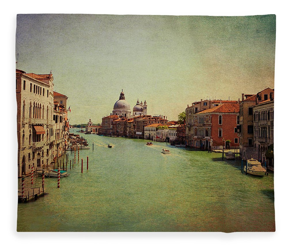 View Fleece Blanket featuring the photograph Venice, Italy - Grand Canal And The Baroque Domes Of Sai by Luisa Vallon Fumi