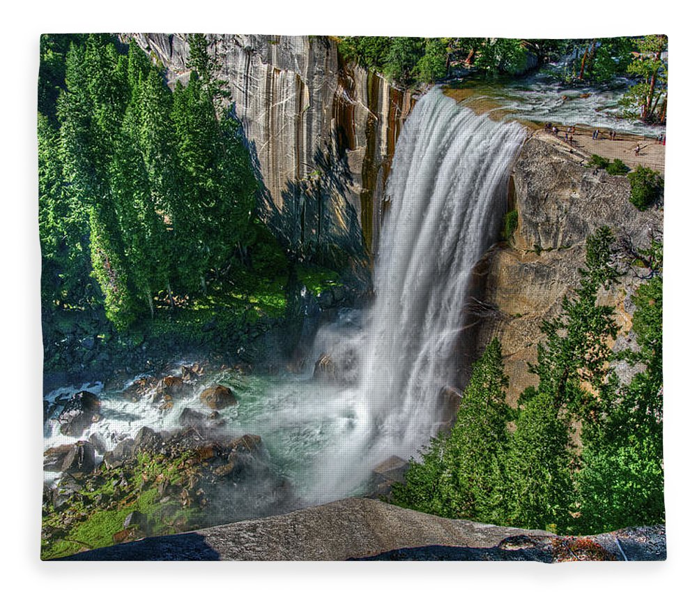 Scenics Fleece Blanket featuring the photograph Vernal Falls by Aaron Meyers