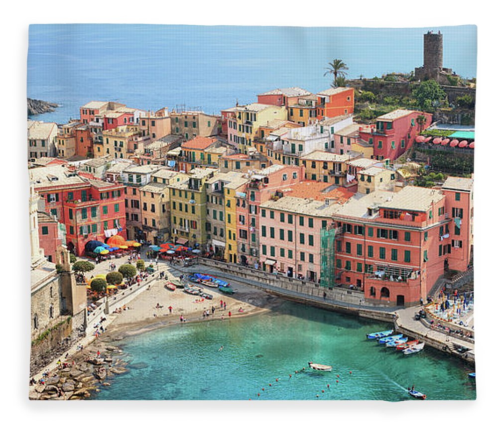 Water's Edge Fleece Blanket featuring the photograph Vernazza by Borchee