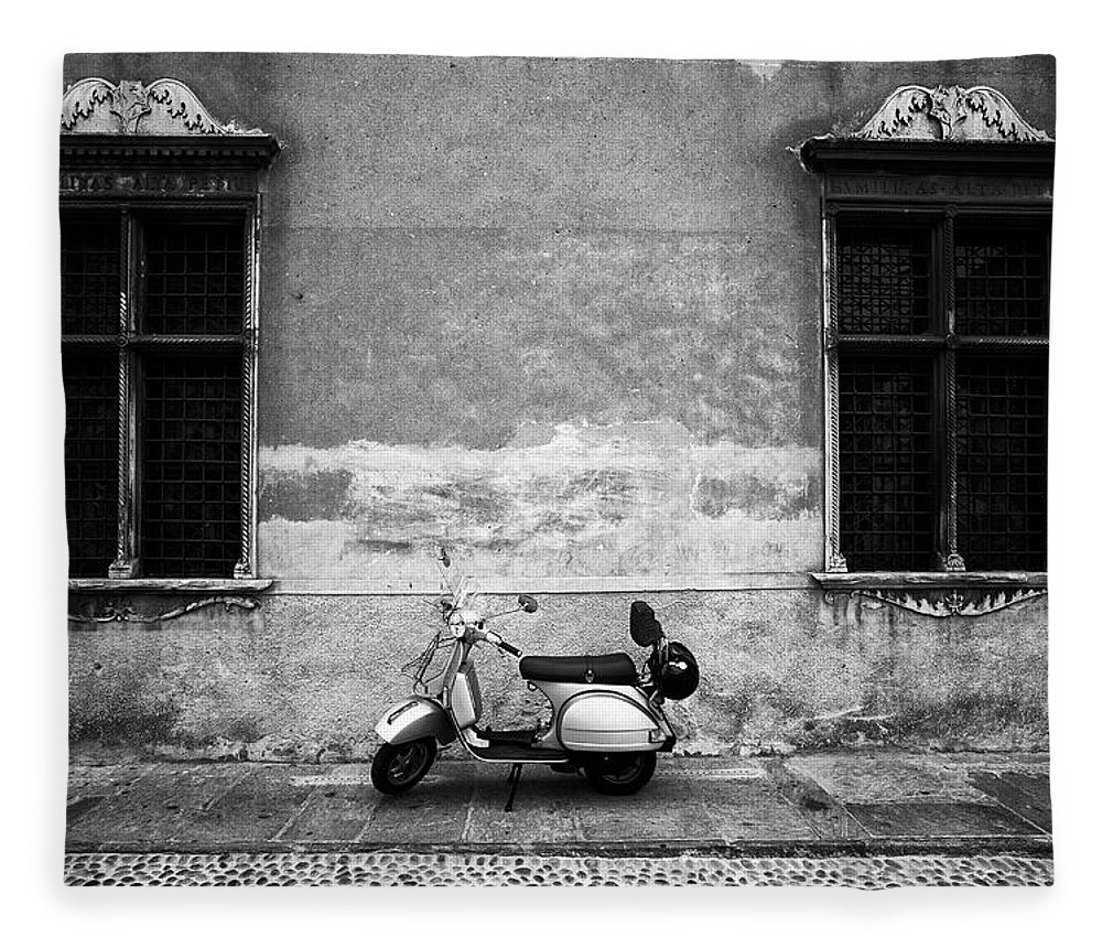 Two Objects Fleece Blanket featuring the photograph Vespa Piaggio. Black And White by Claudio.arnese