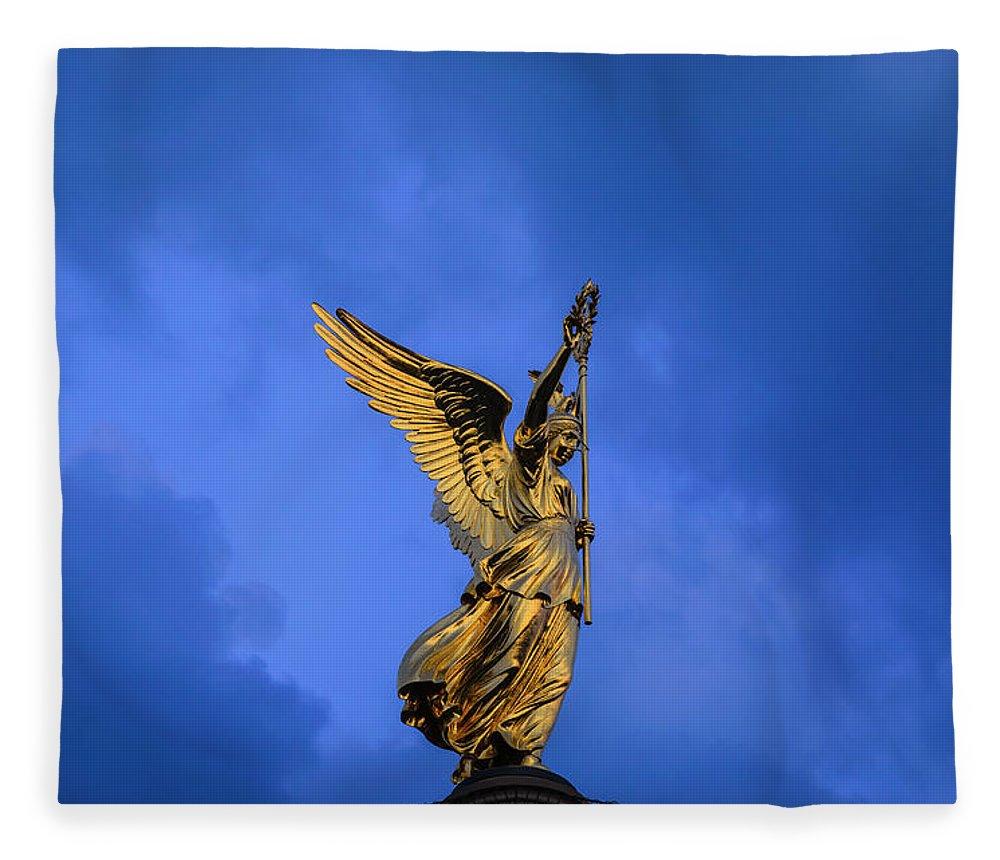 Berlin Fleece Blanket featuring the photograph Victory Column Siegessaeule by Ingo Jezierski