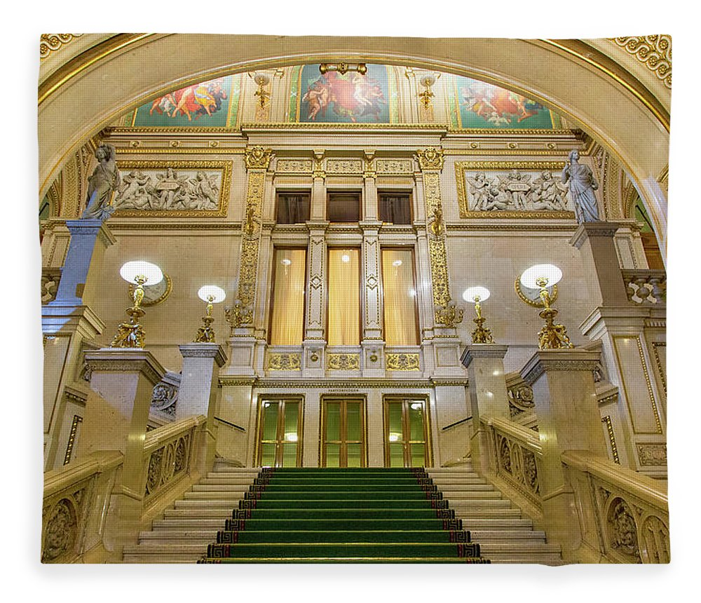 History Fleece Blanket featuring the photograph Vienna Opera House, The Main Hall by Sylvain Sonnet