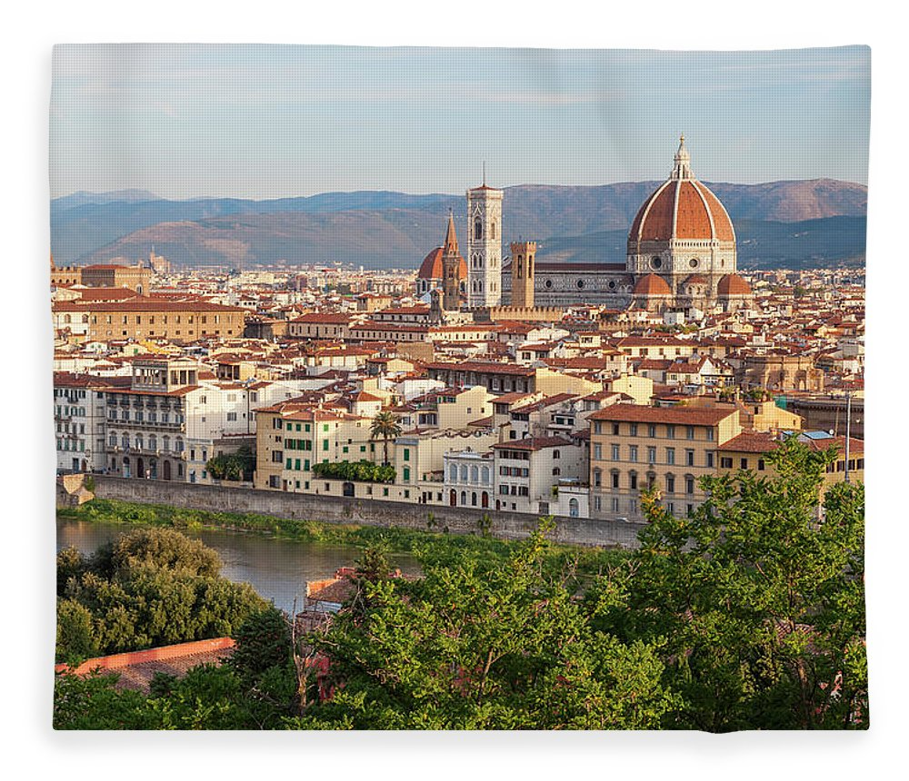 Treetop Fleece Blanket featuring the photograph View Of Florence, Tuscany, Italy by Peter Adams