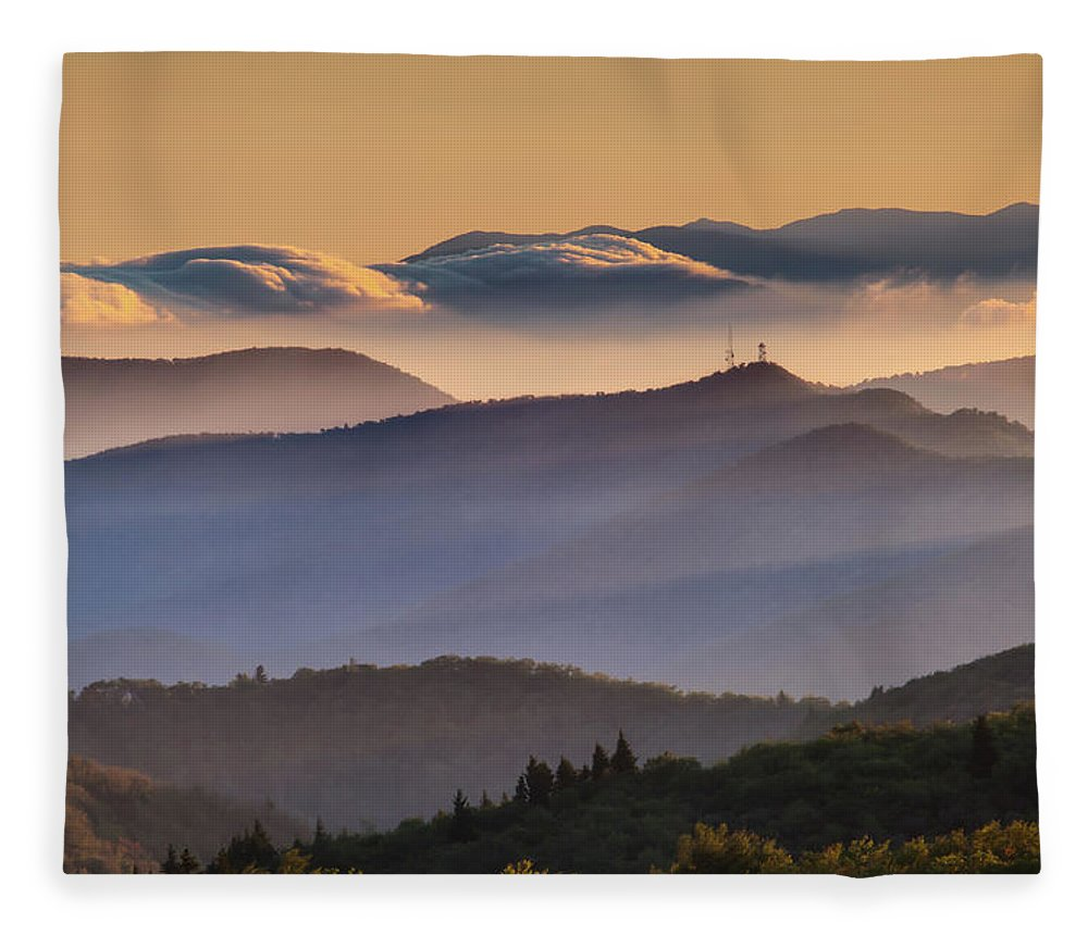 North Carolina Fleece Blanket featuring the photograph View Of Frying Pan Mountain by Fine Art Images By Rob Travis Photography