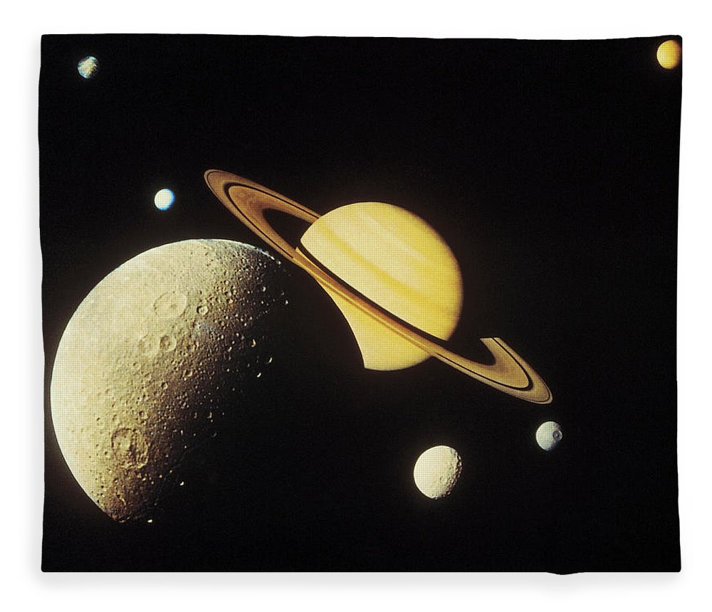 Galaxy Fleece Blanket featuring the photograph View Of Planets In The Solar System by Stockbyte